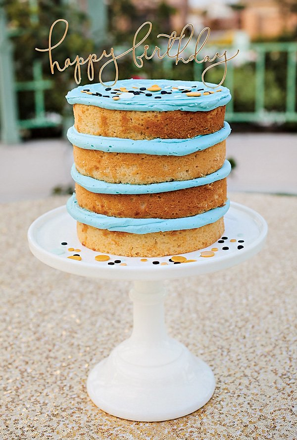 blue frosted naked birthday cake