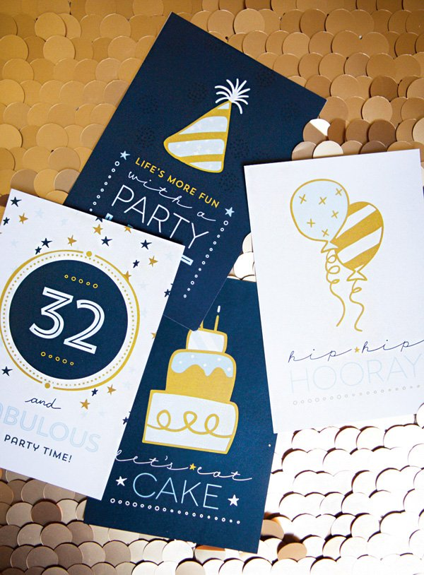 blue and gold birthday party signs