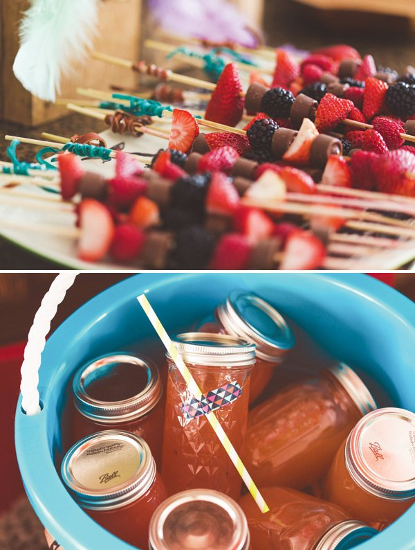 bow and arrow suede fruit and chocolate skewers