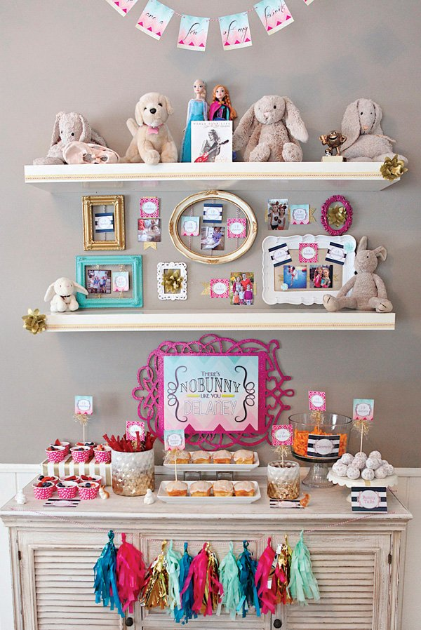 bunny themed favorite things dessert table