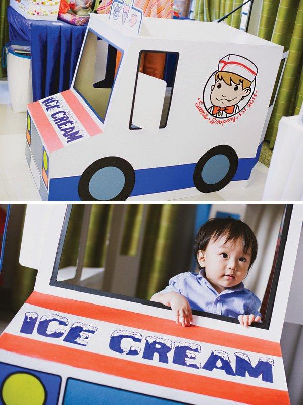 cardboard kid's ice cream truck photo booth