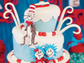 cat in the hat and thing 2 & thing 1 birthday cake