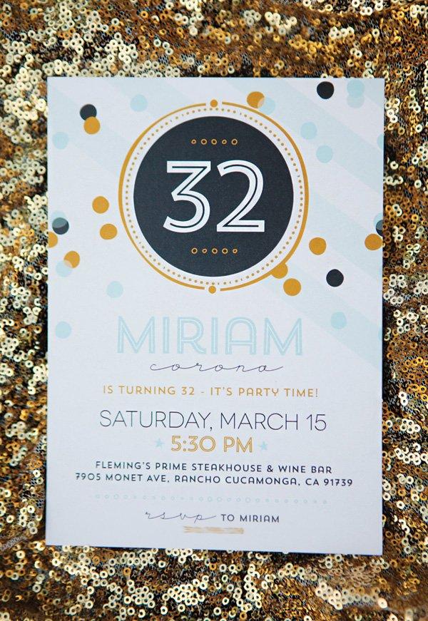 confetti birthday party invitation