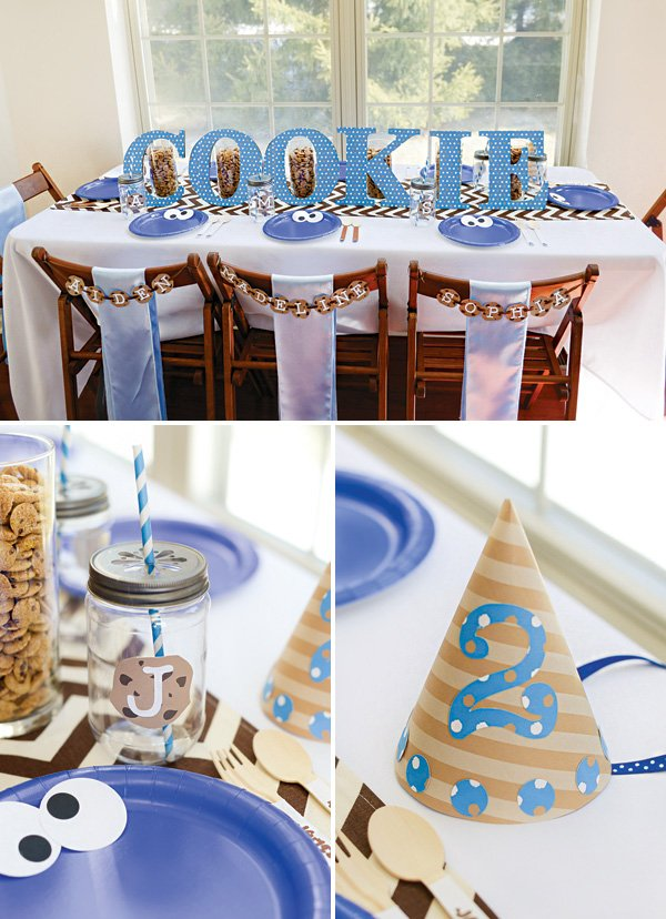 cookie monster birthday party tablescape and decor