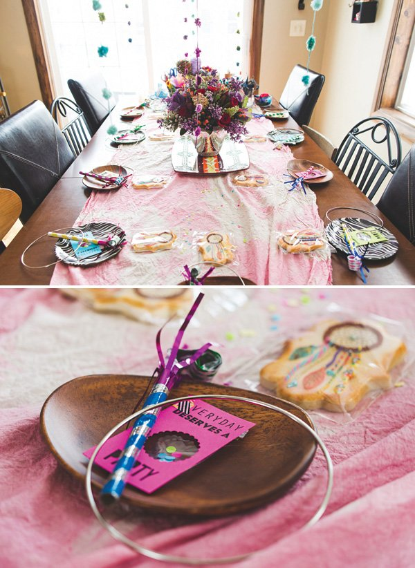 crafting party table decor