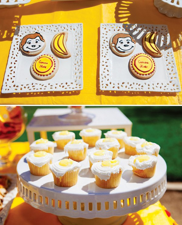 curious george cookies and lemon curd cupcakes