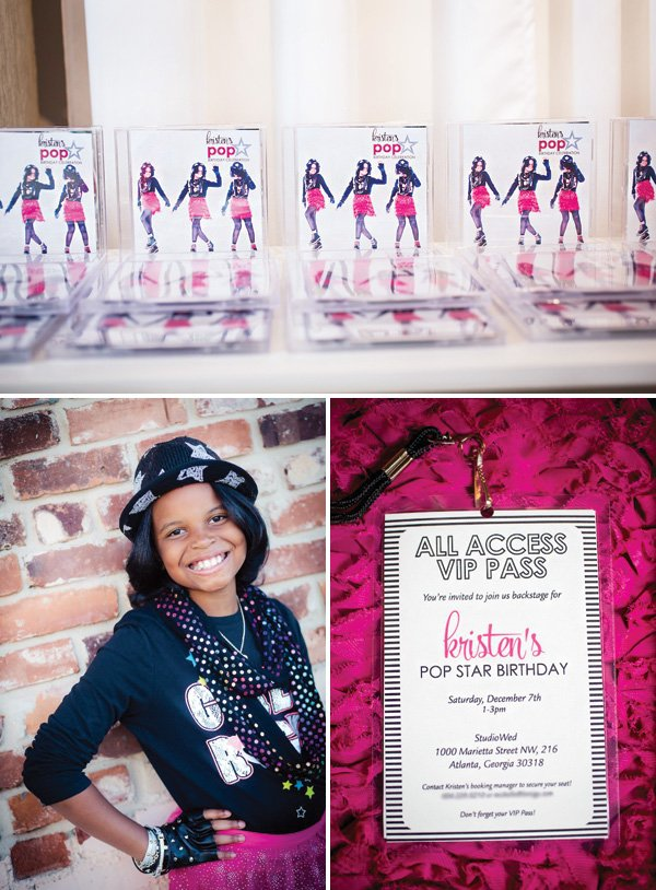 custom CD party favors and VIP pass invitation