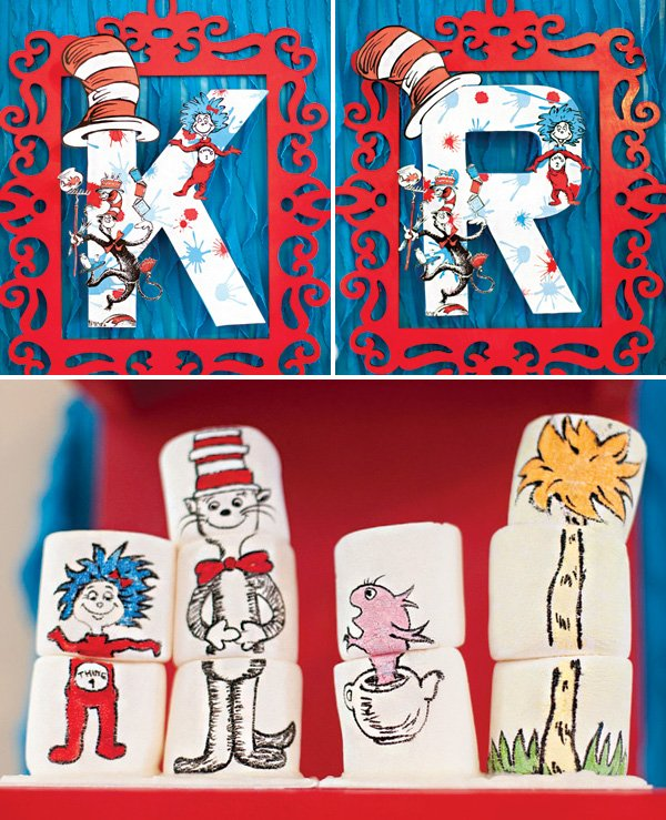 customized dr. suess monograms and illustrated marshmallows