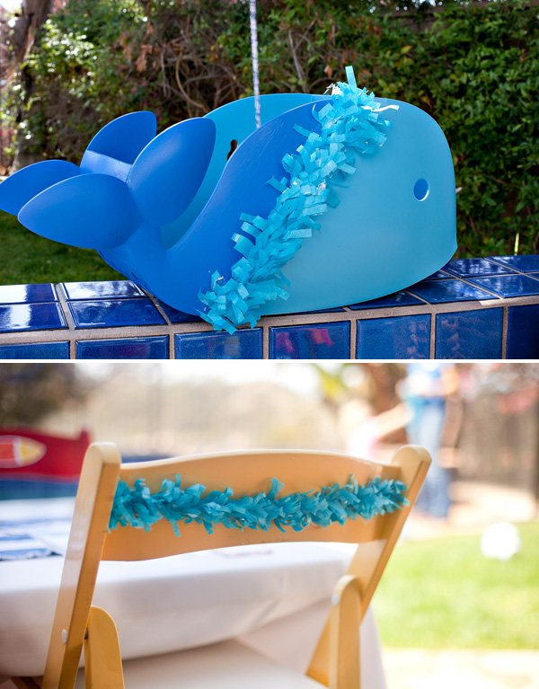 DIY cute painted whale party centerpiece