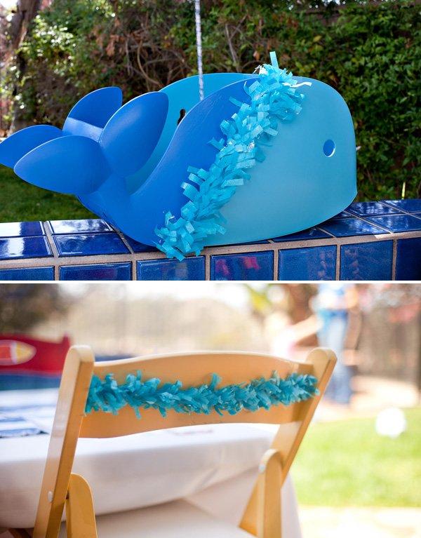 DIY cute painted whale party centerpiece