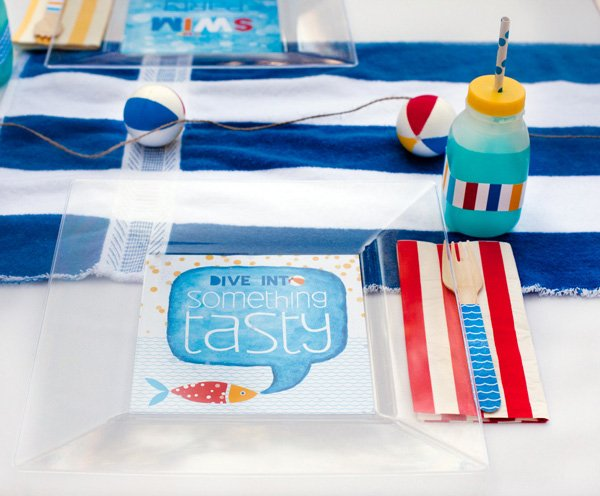 DIY decorated beach party plates