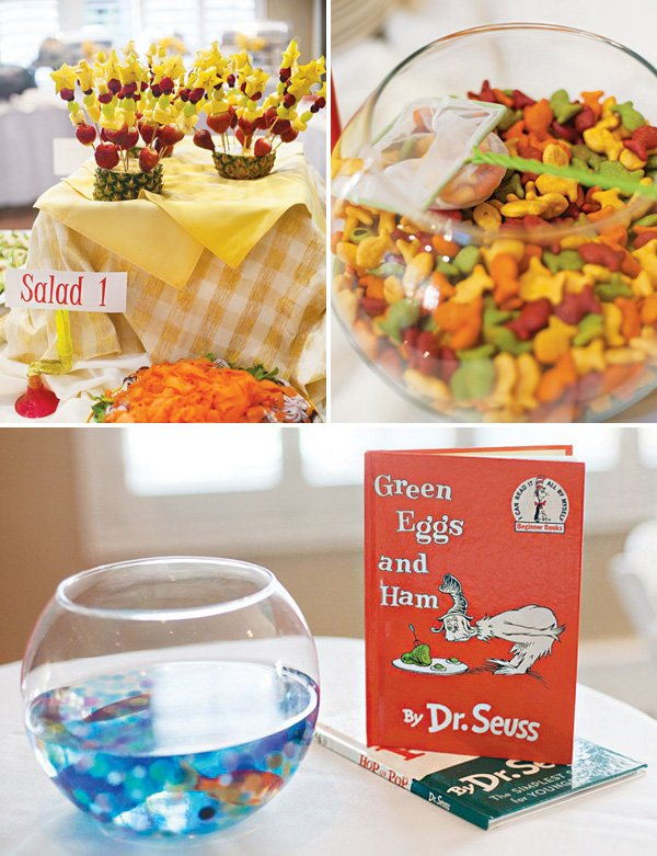 dr. suess fishbowl table centerpiece