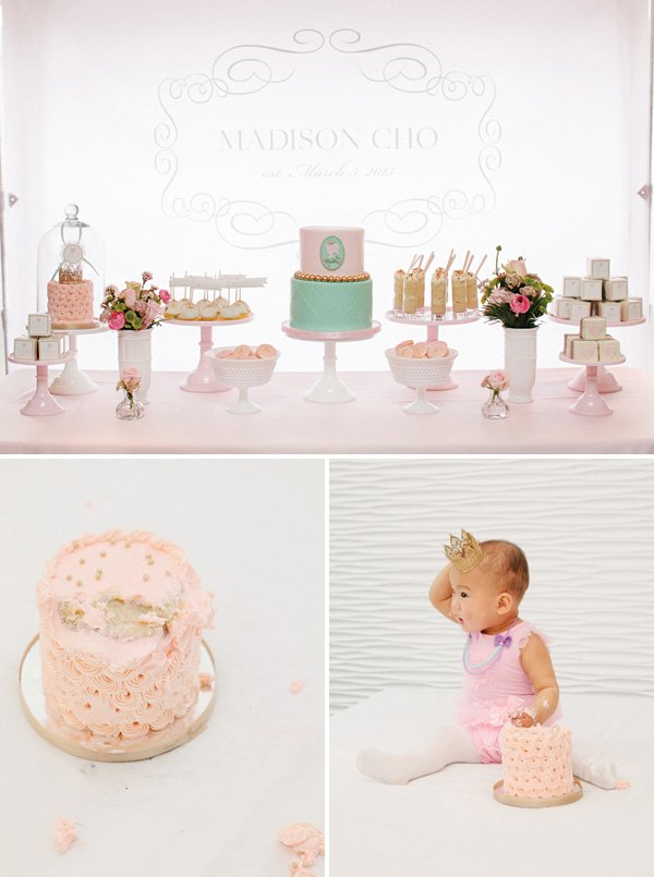 Charming pastel pink first birthday party korean dol hostess first birthday pink smash cake with a gold crown topper filmwisefo