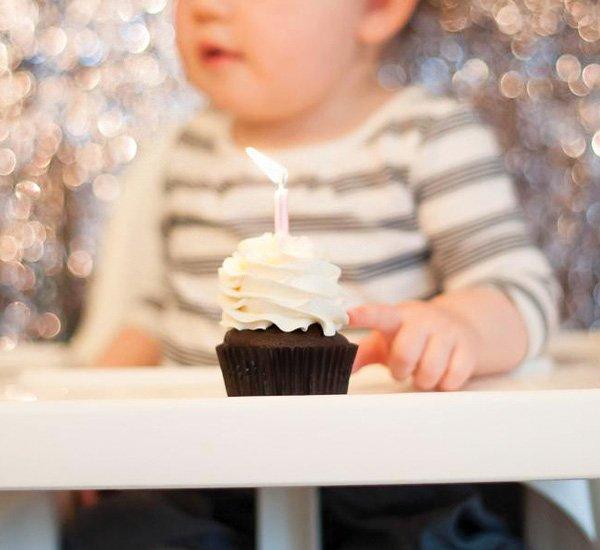 first birthday smash chocolate cupcake