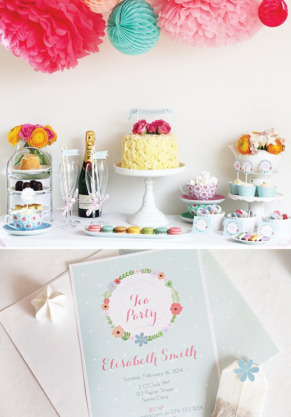 floral brunch birthday tea party