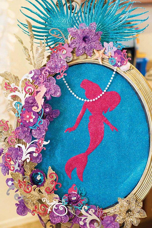 framed glitter mermaid art