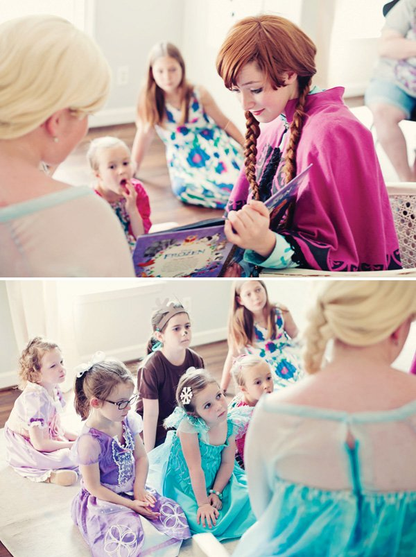 anna and elsa from frozen reading at a frozen party