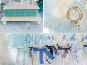 frozen birthday party desserts and Olaf milk bottles