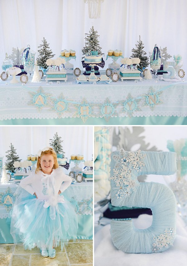 Sparkly Snowy Fantastic Frozen Birthday Party Hostess with