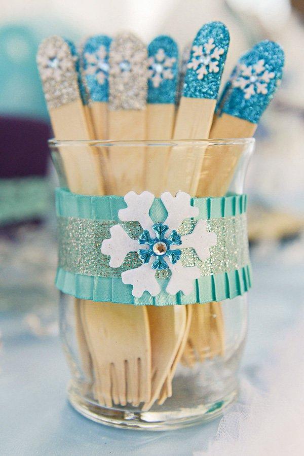 frozen snowflake embellished wooden utensils