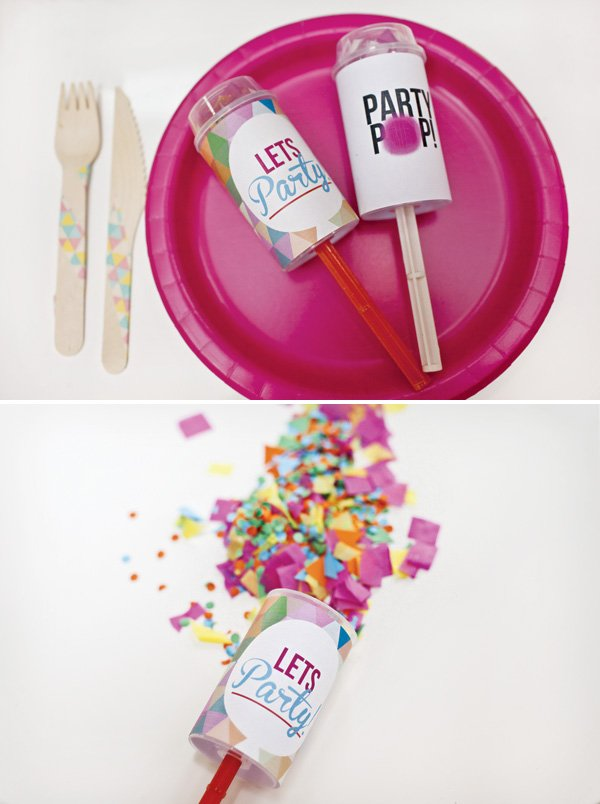rainbow geometric party poppers