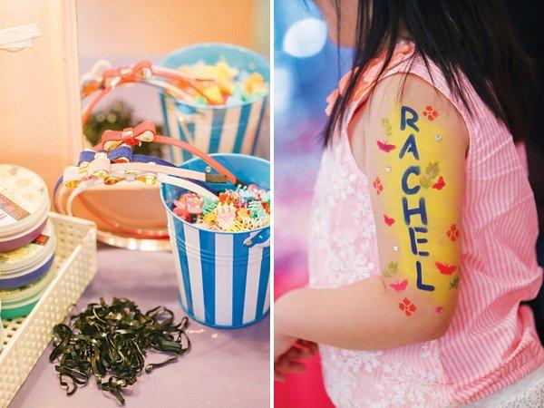 girly birthday party activities like headband decorating and spray art