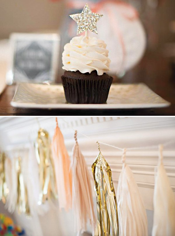 glitter star topped birthday cupcake