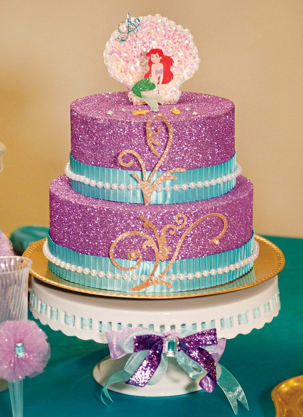 glittery under the sea ariel faux cake centerpiece