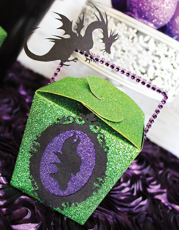 DIY purple and green glittered box party favors