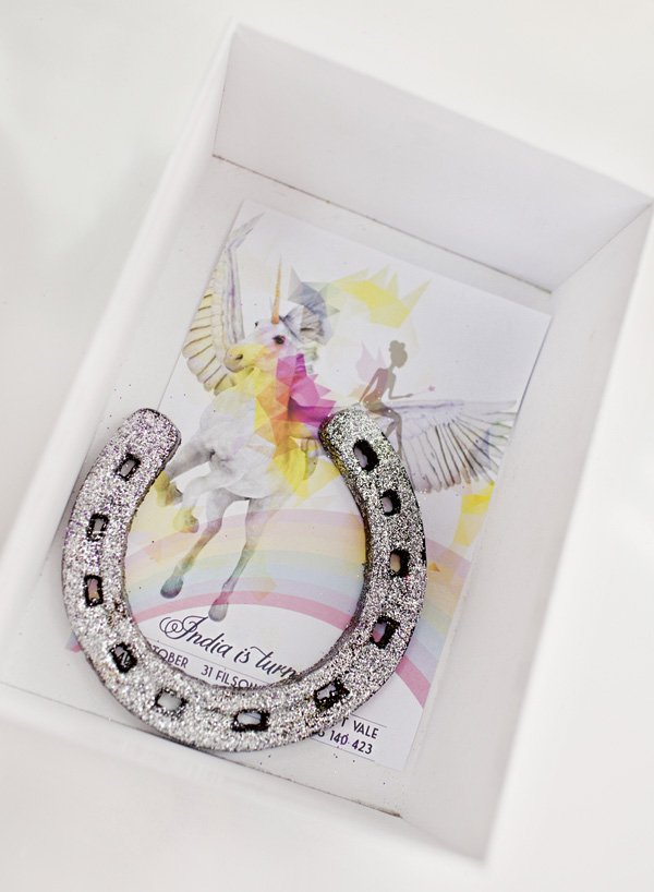 silver glittered horseshoe - pegasus party