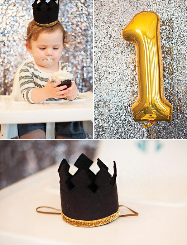glittery first birthday crown