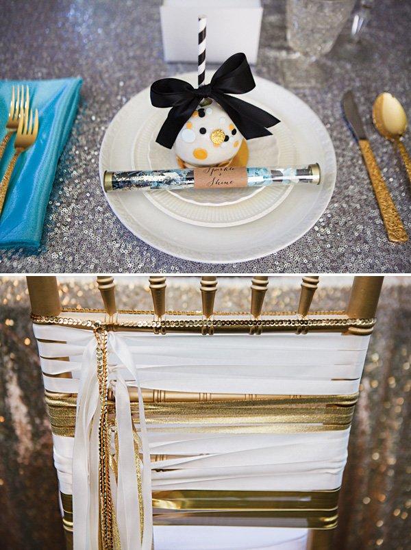 glittery gold and silver tablescape