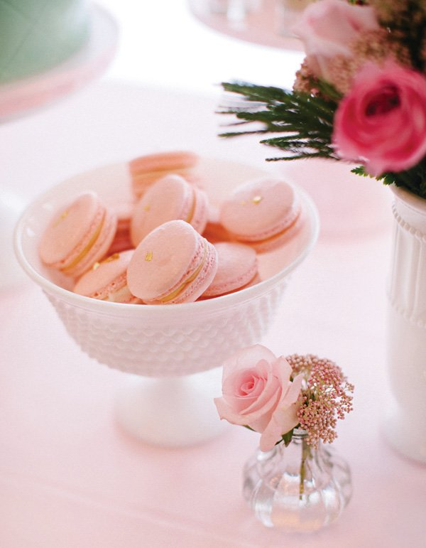 pink and gold foil macarons