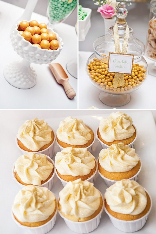 gold glitter cupcakes and candies