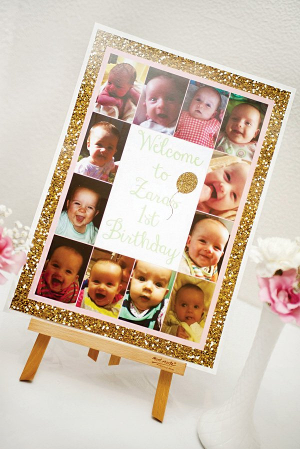 gold glitter first birthday sign