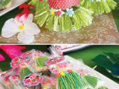 grass skirt cookies and bottle wraps