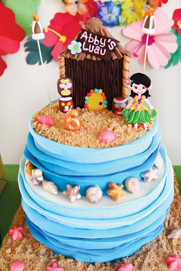 Hawaiian Beach Birthday Cake With Ombre Waves And A Tiki Hut