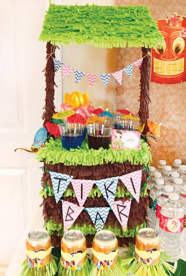 hawaiian party mini tiki bar