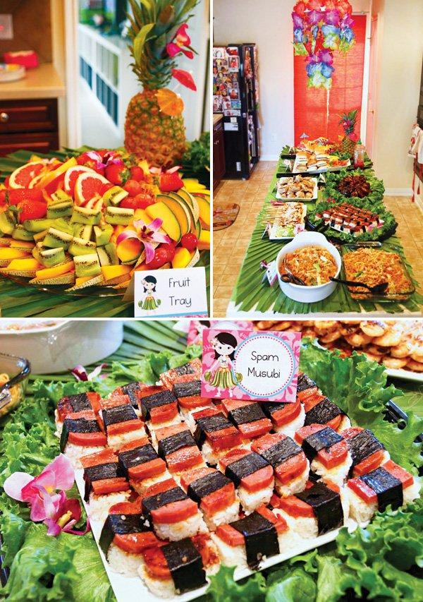 hawaiian themed party food table