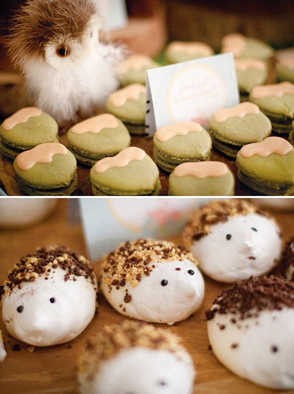 acorn macarons and hedgehog meringues