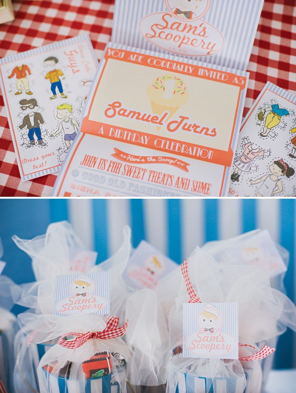 ice cream shoppe retro printables and invitation