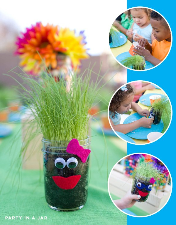 Kids Party Jar Grass Activity