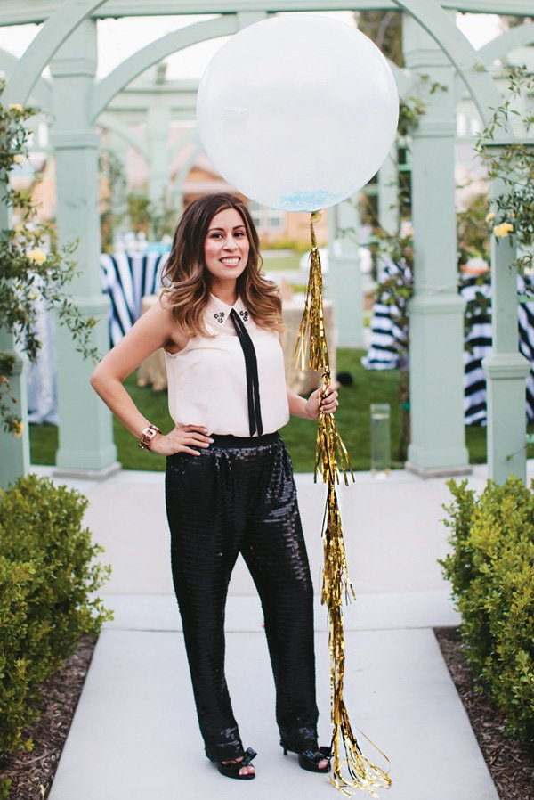 large confetti balloon with gold fringe