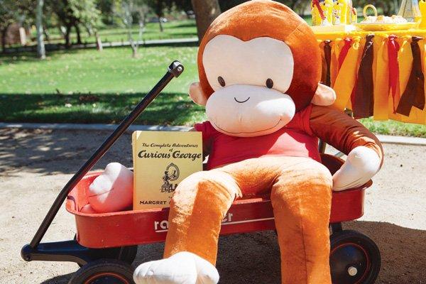 large stuffed curious george monkey