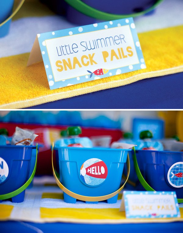little swimmer party snack pails