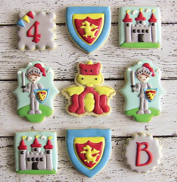 medieval knight and castle cookies