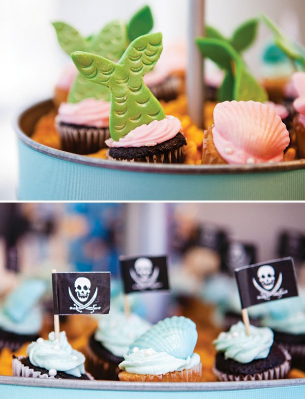 mermaid tail cupcakes and chocolate seashells
