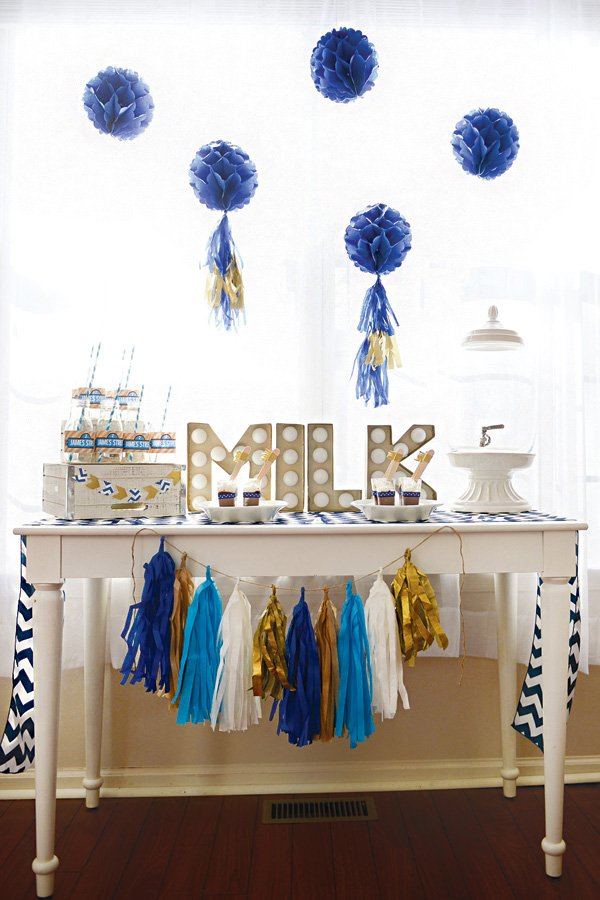 milk and cookies bar for a birthday party
