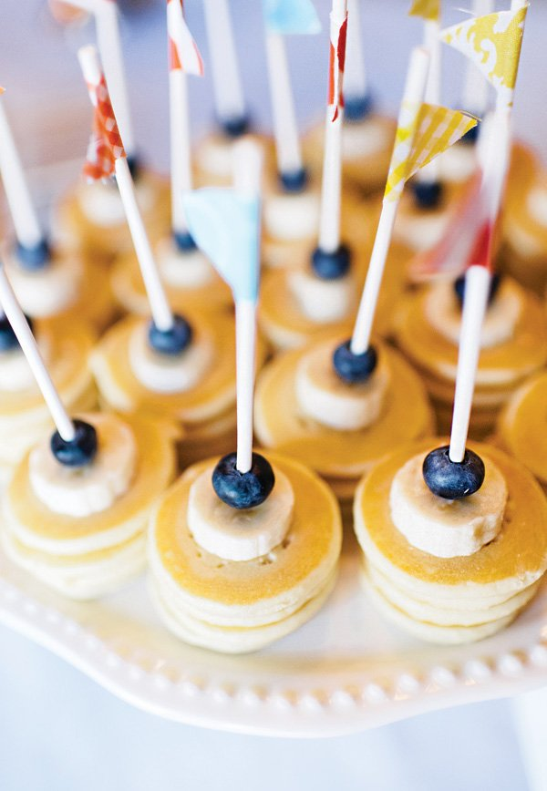 banana and blueberry topped mini pancake skewers