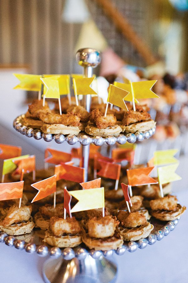 mini chicken and waffle skewers